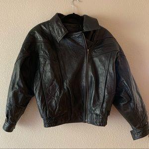 Black Leather Zippered Jacket